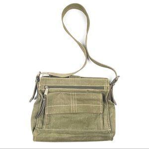 FOSSIL crossbody bag olive green canvas purse